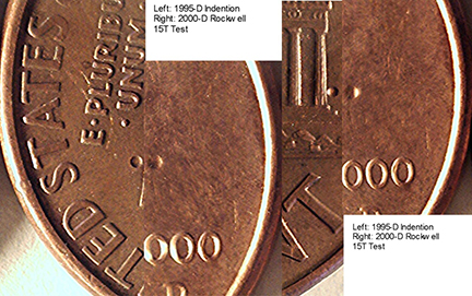 Rockwell Hardness Test Marks On Lincoln Cents | CONECA